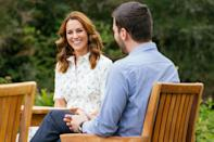 """<p>After announcing a <a href=""""https://people.com/royals/kate-middleton-and-prince-william-make-big-announcement-about-their-royal-foundation-charity/"""" rel=""""nofollow noopener"""" target=""""_blank"""" data-ylk=""""slk:new $2 million grant"""" class=""""link rapid-noclick-resp"""">new $2 million grant</a> in support of frontline workers and the nation's mental health through The Royal Foundation, Kate Middleton speaks with representatives from organizations that will benefit from the fund on Thursday at Sandringham Estate in Norfolk. </p>"""