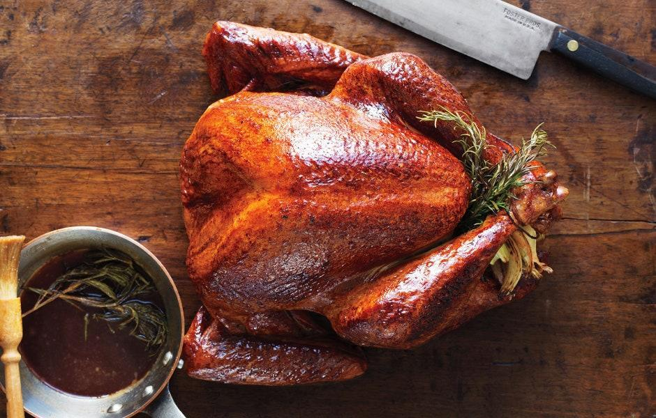 """A simply roasted bird (that is almost too beautiful to eat), glazed with rosemary-infused butter. <a href=""""https://www.bonappetit.com/recipe/a-simple-roast-turkey?mbid=synd_yahoo_rss"""" rel=""""nofollow noopener"""" target=""""_blank"""" data-ylk=""""slk:See recipe."""" class=""""link rapid-noclick-resp"""">See recipe.</a>"""