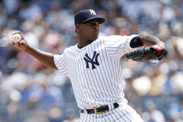 New York Yankees pitcher Luis Severino delivers a pitch during the third inning of a baseball game against the Tampa Bay Rays on Saturday, June 16, 2018, in New York. (AP Photo/Adam Hunger)