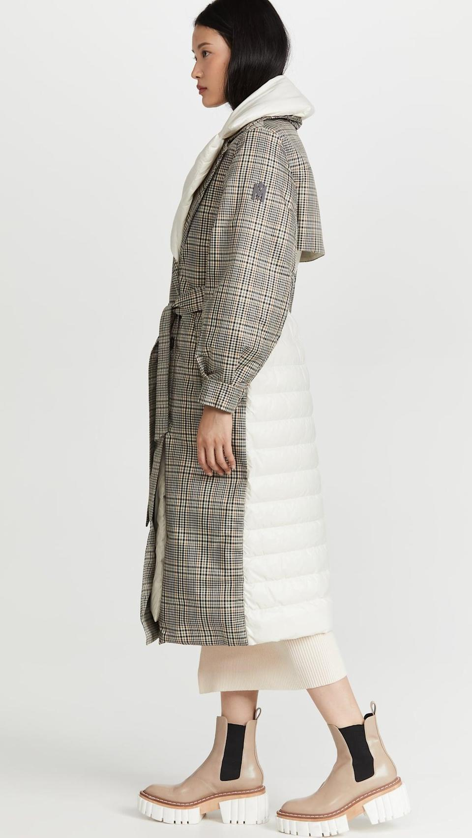 <p>Puffers aren't always considered the most stylish coats, but this <span>Mackage Sage Parka</span> ($1,090) is here to change that. It looks like a plaid trench, but is really all puff, keeping you warm and cozy.</p>