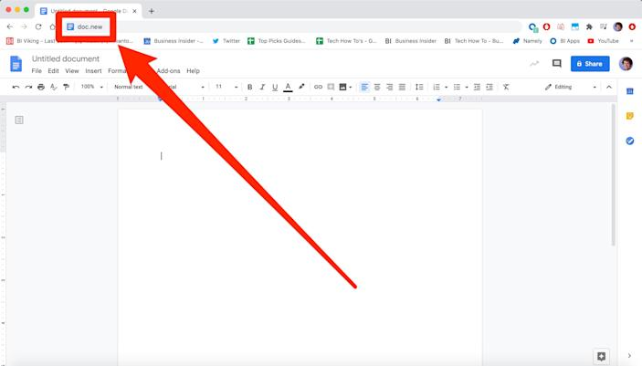 You can open a new Google Drive file with a shortcut.