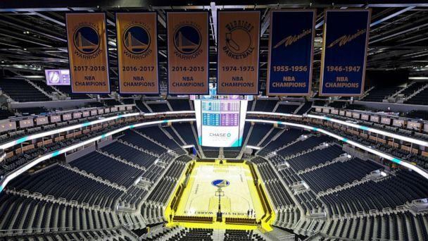 PHOTO: The Golden State Warriors championship banners hang above the seating and basketball court at the Chase Center in San Francisco, Aug. 26, 2019. (Eric Risberg/AP, FILE)