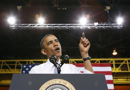 U.S. President Obama speaks about the economy during a visit to ArcelorMittal steel mill in Cleveland
