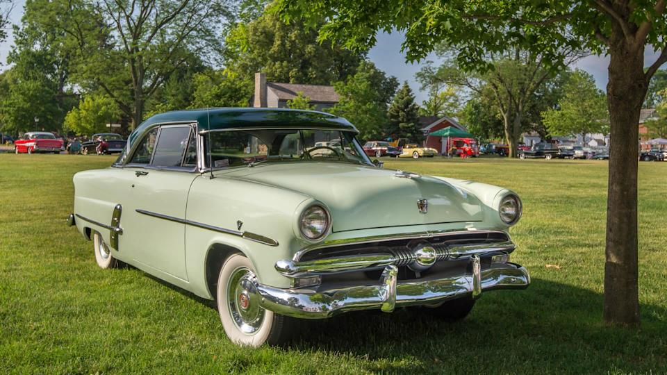 DEARBORN, MI/USA - JUNE 17, 2017: A 1953 Ford Crestline Victoria car at The Henry Ford (THF) Motor Muster car show, held at Greenfield Village, near Detroit, Michigan.
