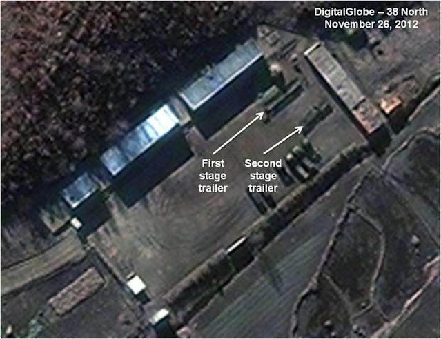 FILE - This Monday Nov. 26, 2012 file satellite image provided by DigitalGlobe and annotated by 38 North, the website of the U.S.-Korea Institute at Johns Hopkins School of Advanced International Studies, shows the Sohae Satellite Launch Station in Cholsan County, North Pyongan Province, North Korea. North Korea said Saturday, Dec. 1, 2012 it will launch a long-range rocket between Dec. 10 and Dec. 22, a move likely to heighten already strained tensions with Washington and Seoul ahead of South Korean presidential elections Dec. 19. (AP Photo/DigitalGlobe via 38 North, File)