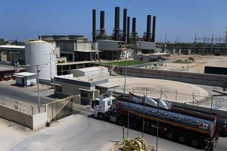 Fuel tanker arrives at the Gaza power plant, in the central Gaza Strip