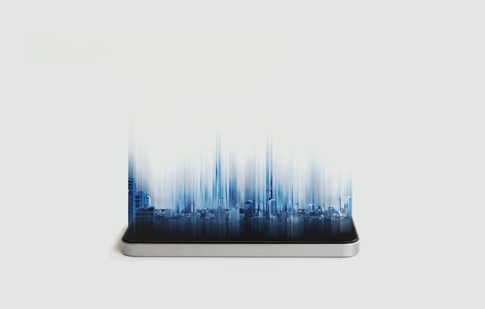 A smartphone with abstract images emerging from its screen
