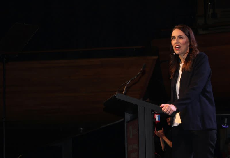 Prime Minister Jacinda Ardern addresses her supporters at a Labour Party event in Wellington