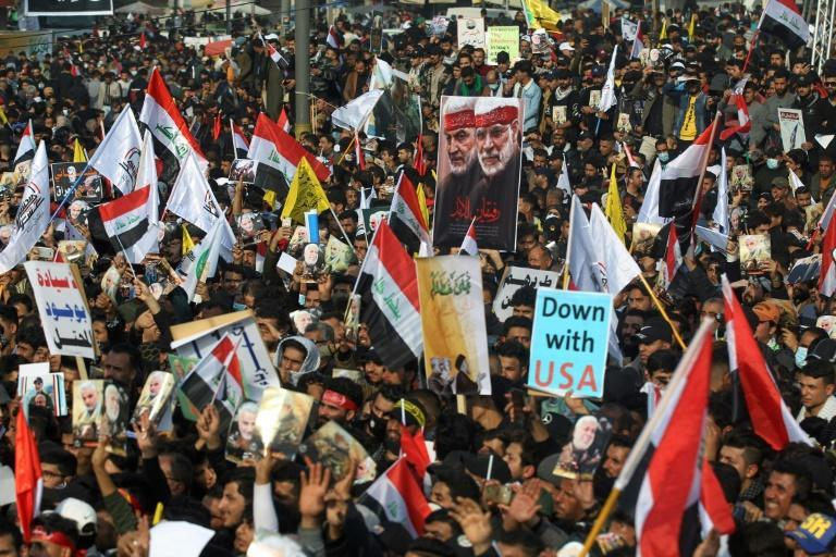 Iraqi demonstrators mark one year Sunday after a US drone strike killed Iran's revered commander Qasem Soleimani
