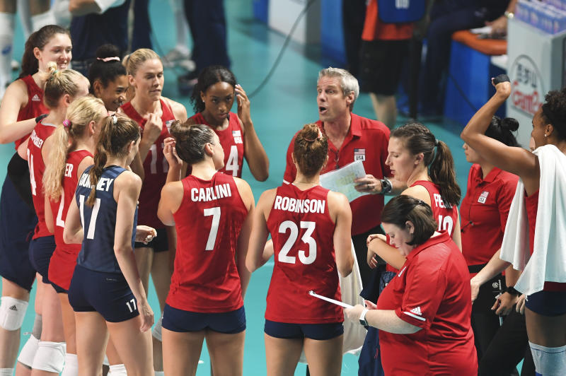 NANJING, CHINA - JULY 07: Head coach Kiraly Karch of the United States speaks to his players during the 2019 FIVB Volleyball Nations League final match between the United States and Brazil at Nanjing Olympic Sports Centre on July 7, 2019 in Nanjing, Jiangsu Province of China. (Photo by VCG/VCG via Getty Images)