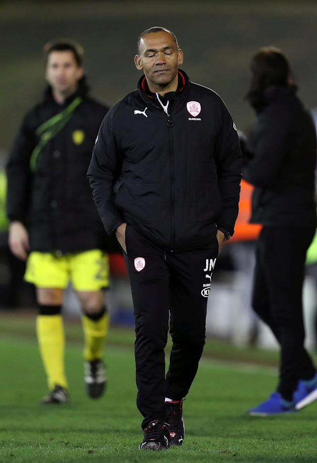 "Soccer Football - Championship - Barnsley vs Burton Albion - Oakwell, Barnsley, Britain - February 20, 2018 Barnsley's manager Jose Morais looks dejected as he walks off at the end of the game Action Images/John Clifton EDITORIAL USE ONLY. No use with unauthorized audio, video, data, fixture lists, club/league logos or ""live"" services. Online in-match use limited to 75 images, no video emulation. No use in betting, games or single club/league/player publications. Please contact your account representative for further details."