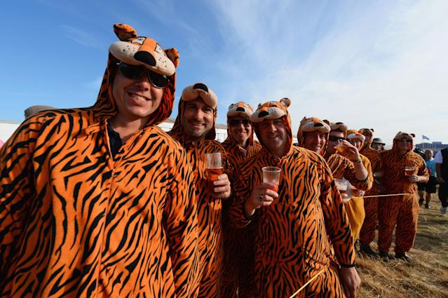 GULLANE, SCOTLAND - JULY 20: Fans dress in tiger costumes watch the third round of the 142nd Open Championship at Muirfield on July 20, 2013 in Gullane, Scotland. (Photo by Stuart Franklin/Getty Images)
