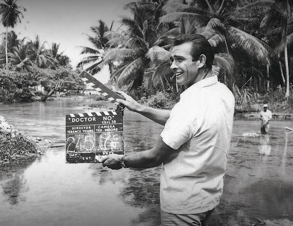 <p>Sean Connery holds the 'Dr. No' clapper board for the 1962 film.</p>