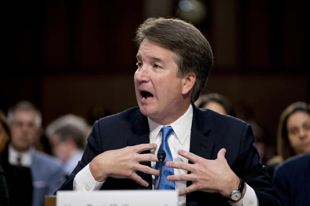 President Trump's Supreme Court nominee, Brett Kavanaugh, a federal appeals court judge, testifies before the Senate Judiciary Committee on the second day of his confirmation hearings. (AP Photo/Andrew Harnik)