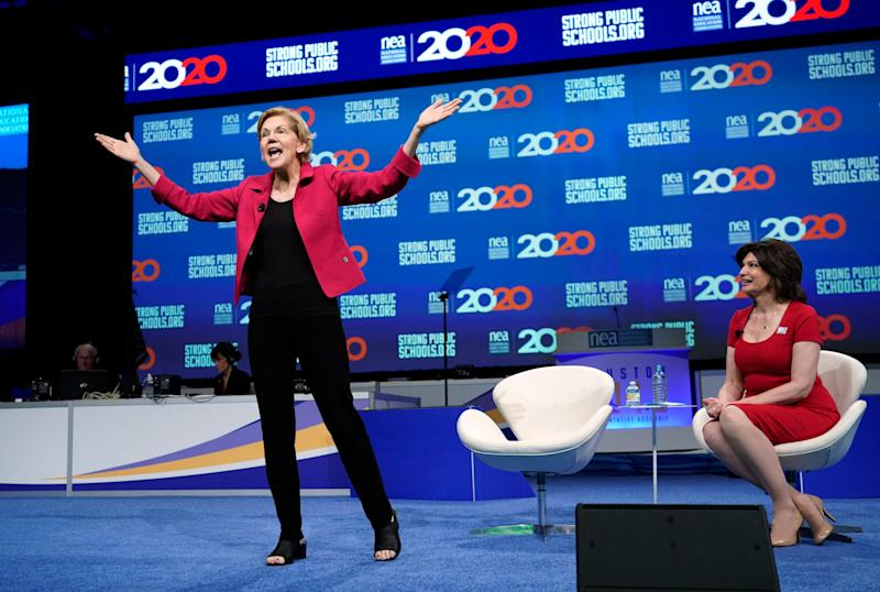 Candidates seeking to take on Trump told the National Education Association's annual gathering that teachers deserve better pay and respect.