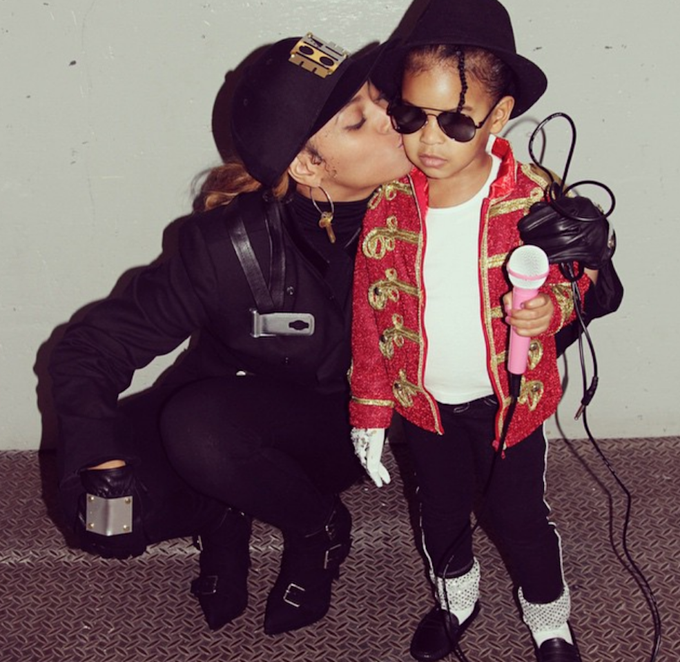 """The next year she and daughter Blue Ivy paired up as Janet and Michael Jackson. Bey nailed Janet's """"Control"""" look, while the beauty of Blue's costume is in the details. See that sparkly white glove? She's a queen of pop in the making, my friends."""