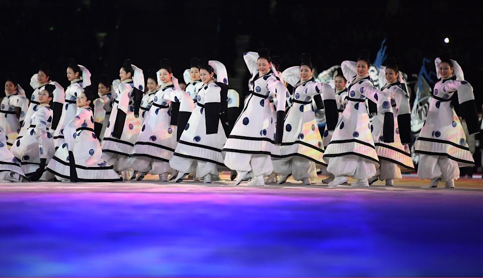 <p>Dancers perform during the Opening Ceremony of the PyeongChang 2018 Winter Olympic Games at PyeongChang Olympic Stadium on February 9, 2018 in Pyeongchang-gun, South Korea. (Photo by Quinn Rooney/Getty Images) </p>