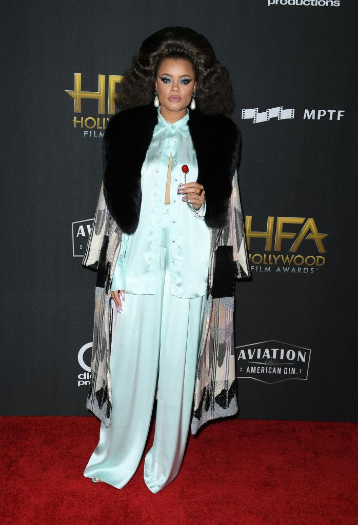 <p>The singer was one of the most colorful of the night, wearing a light turquoise silk set. Day won an award with Diane Warren and Common for the Marshall soundtrack. (Photo: Getty Images) </p>