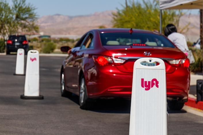 Las Vegas - Circa June 2019: Lyft Las Vegas Hub. Lyft and Uber have replaced many Taxi cabs with a smart phone app VII. Image: Getty