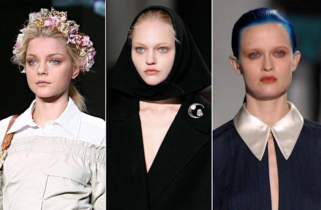<p>Flower crowns, hair bandanas, and sleek blue were all major statements in 2007. (Photo: Getty Images) </p>