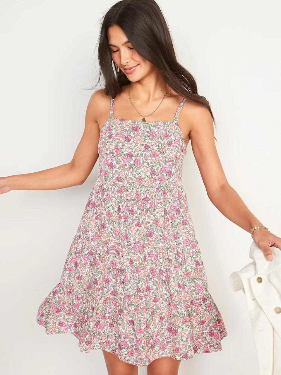 <p>I love the flowy silhouette of this <span>Old Navy Sleeveless Tiered Floral-Print Swing Dress</span> ($35).</p>