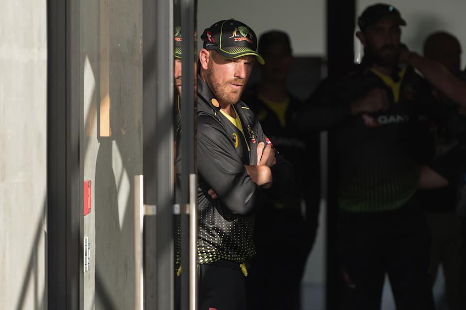Captain Aaron Finch (pictured) looks on prior to game one of the Men's International T20 series.