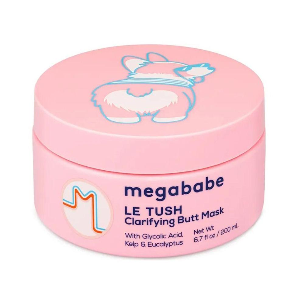"""<p><strong>megababe</strong></p><p>ulta.com</p><p><strong>$22.00</strong></p><p><a href=""""https://go.redirectingat.com?id=74968X1596630&url=https%3A%2F%2Fwww.ulta.com%2Fle-tush-clarifying-butt-mask%3FproductId%3Dpimprod2014929&sref=https%3A%2F%2Fwww.bestproducts.com%2Fbeauty%2Fg22624901%2Fbutt-beauty-skincare-products%2F"""" rel=""""nofollow noopener"""" target=""""_blank"""" data-ylk=""""slk:Shop Now"""" class=""""link rapid-noclick-resp"""">Shop Now</a></p><p>If you've noticed some blemishes on your bum that you'd like to address, then allow me to introduce you to this booty mask from megababe. </p><p>This mask stands out for its blend of powerful <a href=""""https://www.bestproducts.com/beauty/g22530244/benefits-of-glycolic-acid-skincare-products/"""" rel=""""nofollow noopener"""" target=""""_blank"""" data-ylk=""""slk:glycolic"""" class=""""link rapid-noclick-resp"""">glycolic</a>, malic, and azelaic acids to cleanse your bum off any acne-causing bacteria, But that doesn't mean your bum will feel dry and irritated after using this, because it's also formulated with squalane and kelp extract to lock in much-needed moisture. </p><p>The results: a smooth, soft booty!</p>"""