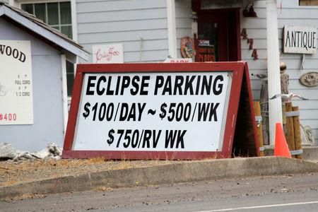 REFILE - CORRECTING DATE --  A parking sign for people visiting for the Solar Eclipse is shown in Depoe Bay, Oregon, U.S. August 9, 2017. Picture taken August 9, 2017.  REUTERS/Jane Ross