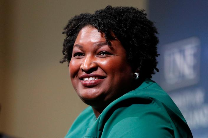 <p>Stacey Abrams speaks at the University of New England in Portland, Maine on 22 January, 2020.  </p> ((AP Photo/Robert F. Bukaty, File))