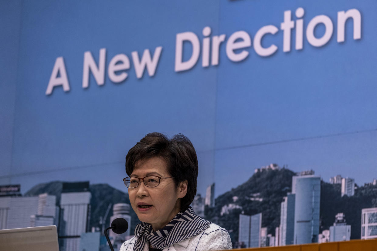 Hong Kong Chief Executive Carrie Lam Speaks during a press conference on Covid-19 Social Distancing Restrictions , in Hong Kong, Monday, April 12, 2021. Hong Kong Government Said that it intends to form vaccination bubbles, allowing people who have received the vaccine to enjoy relaxed Covid-19 social distancing measures (Photo by Vernon Yuen/NurPhoto via Getty Images)