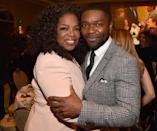 "Oprah Winfrey and David Oyelowo, who both appear in ""Selma,"" get close at the luncheon."