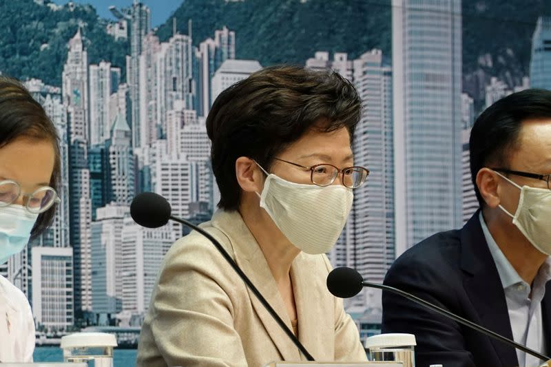 Hong Kong leader says won't take U.S. sanctions against her to heart