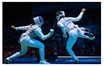 <p>Olympic fencers are covered from head to toe — mask and all. Fencers must gear up in order to protect themselves from the swords they use. You could poke someone's eye out with those things!</p><p><i>(Photo: Getty Images)</i><br></p>