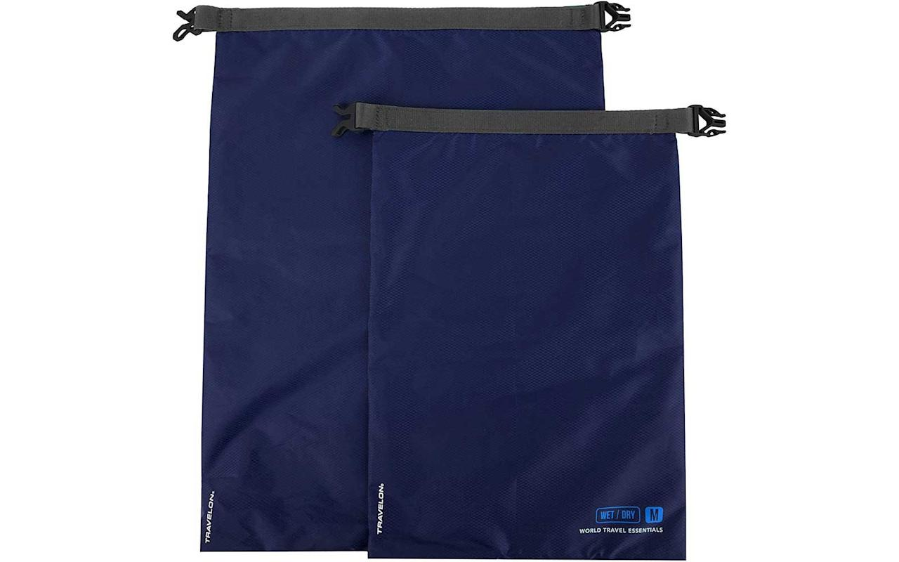 """<p>This set of two bags helps you separate your wet and dry clothes while traveling. Fully taped seams and a roll-top closure with a buckle ensure that your belongings will stay dry.</p> <p>To buy: <a href=""""https://www.amazon.com/dp/B078XXPH8Y/ref=as_li_ss_tl?ie=UTF8&linkCode=ll1&tag=tltrvluggageorganizersonamazonmdnov19-20&linkId=d145499dcbab4def7b0b8a5cd0b96c24&language=en_US"""">amazon.com</a>, from $9</p>"""