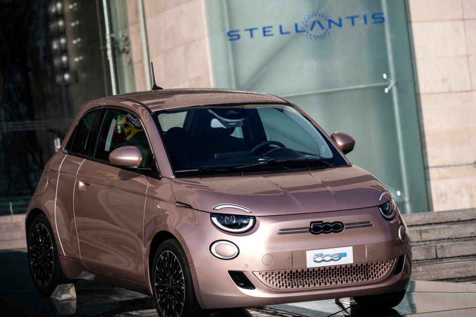 Fiat's Prima 500 electric car displayed at the entrance of its car plant in Turin, northern Italy. Photo: Marco Bertorello/AFP via Getty Images