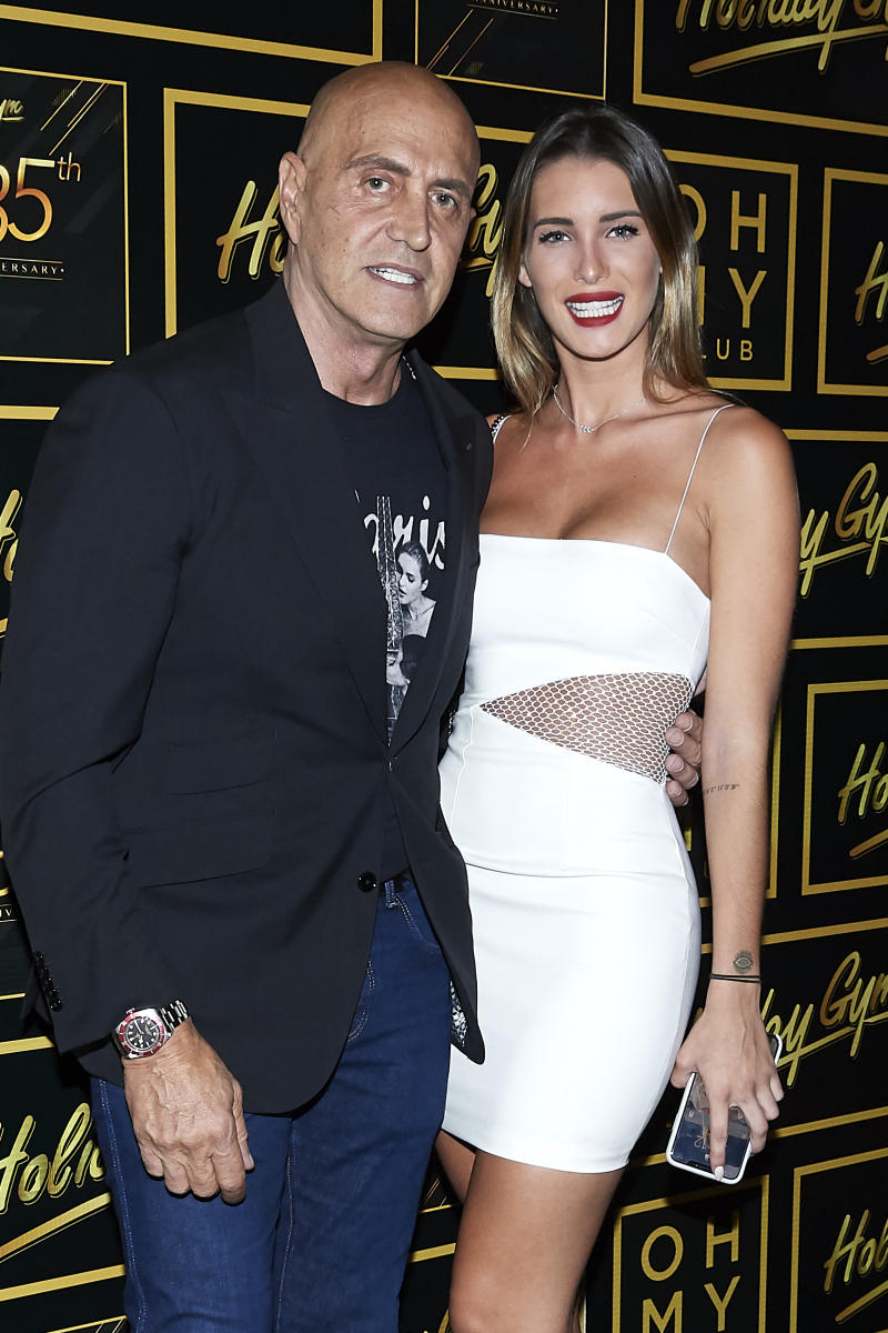 MADRID, SPAIN - JULY 05: Kiko Matamoros and Marta Lopez Alamo attend 'Holiday Gym' 35th anniversary party on July 05, 2019 in Madrid, Spain. (Photo by Carlos R. Alvarez/WireImage)
