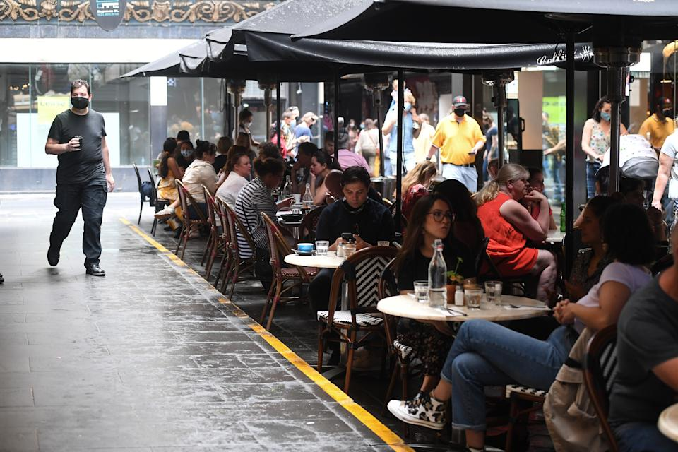 People dine on Degraves Street in Melbourne in November. Source: AAP