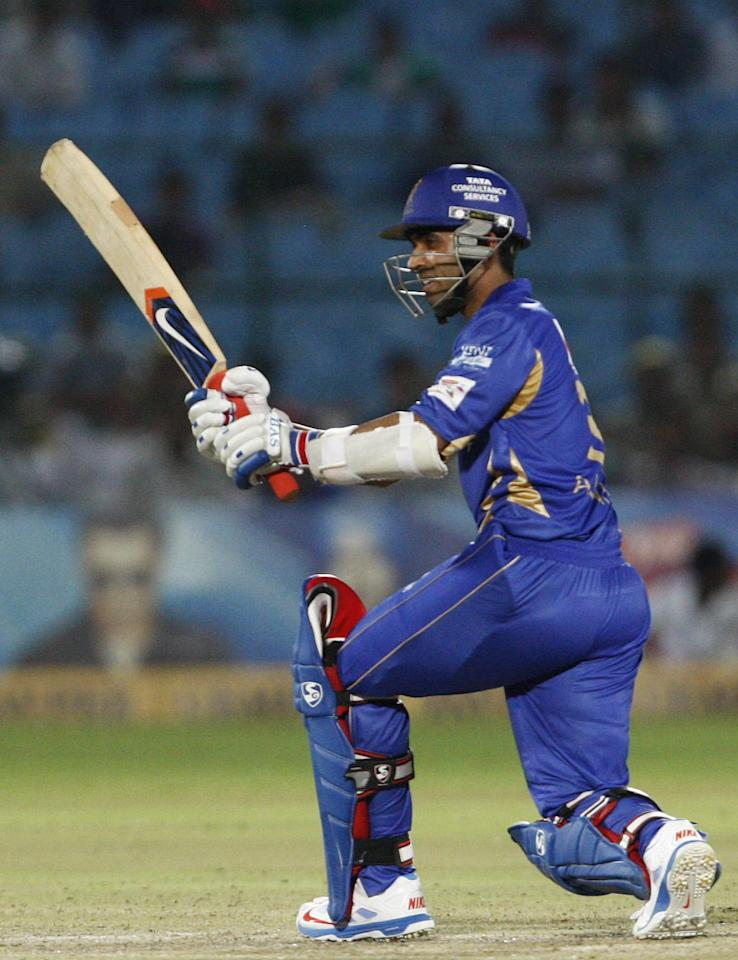 Rajasthan Royals captain Rahul Dravid in action during the CLT20 match between Rajasthan Royals and Otago Volts at Sawai Mansingh Stadium in Jaipur on Oct. 1, 2013. (Photo: IANS)