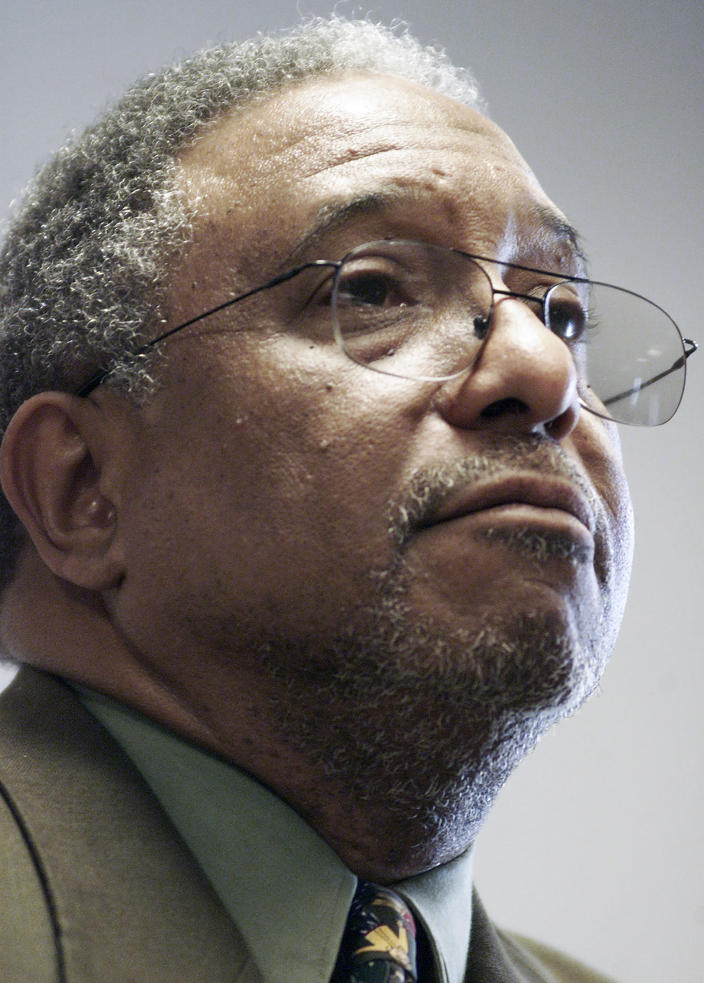 FILE - In this May 1, 2002, file photo, Bernard LaFayette speaks in Warwick, R.I. LaFayette attended nonviolence workshops led by The Rev. James Lawson during the civil rights struggles of the 1960s. (AP Photo/Victoria Arocho, File)