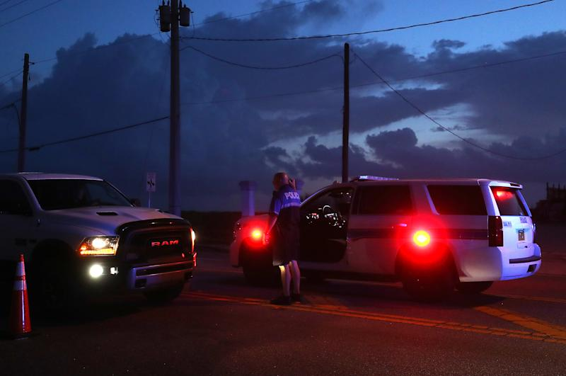 Daytona Beach Shores Police set up a road block to only let residents in as hurricane Dorian looms in the Atlantic Ocean, on Sept. 3, 2019 in Daytona Beach, Fla. (Photo: Mark Wilson/Getty Images)