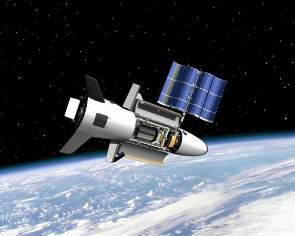 Artist's concept of the U.S. Air Force's X-37B space plane, which is scheduled to launch on its fourth mission on May 20, 2015.