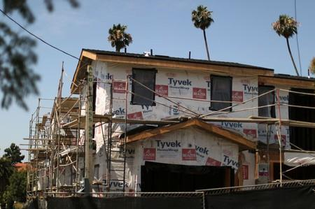 A new apartment building housing construction site is seen in Los Angeles