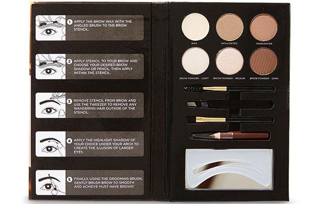 First up we tried out the $9.99 Aldi Lacura Stepping Out Brow Palette. Photo: Aldi