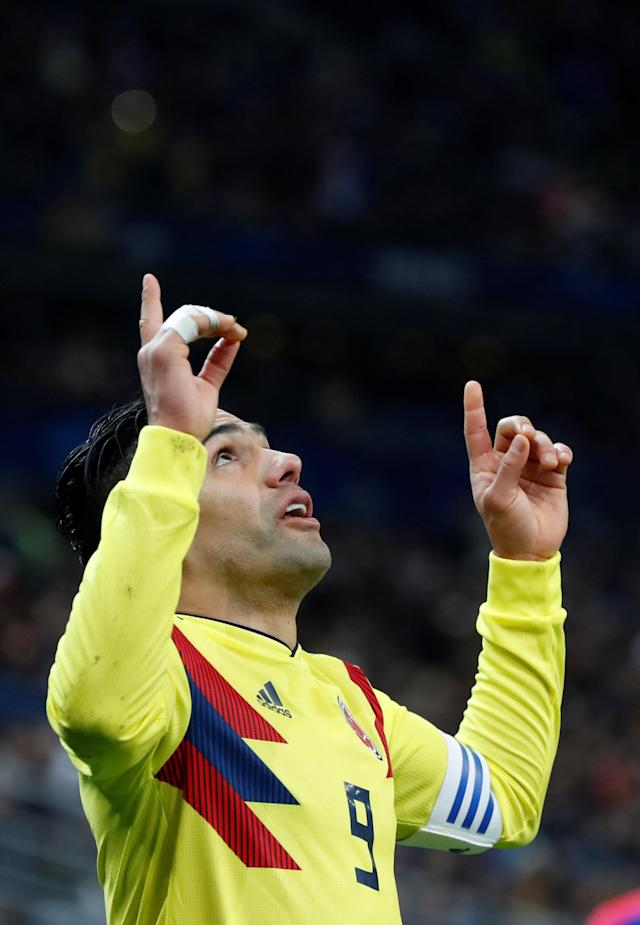 Soccer Football - International Friendly - France vs Colombia - Stade De France, Saint-Denis, France - March 23, 2018 Colombia's Radamel Falcao celebrates scoring their second goal REUTERS/Gonzalo Fuentes