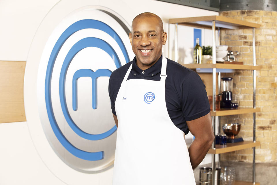 WARNING: Embargoed for publication until 00:00:01 on 22/04/2021 - Programme Name: Celebrity Masterchef S16 - TX: n/a - Episode: Celebrity Masterchef S16 - Contestant Generics (No. Contestant Generics) - Picture Shows: **STRICTLY EMBARGOED NOT FOR PUBLICATION BEFORE 00:01 ON THURSDAY 22ND APRIL 2021** Dion Dublin - (C) Shine TV - Photographer: Production