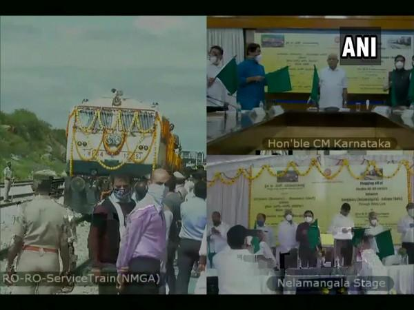 Karnataka CM flags off RO-RO train from Karnataka and Maharashtra through video conference (Photo/ANI)