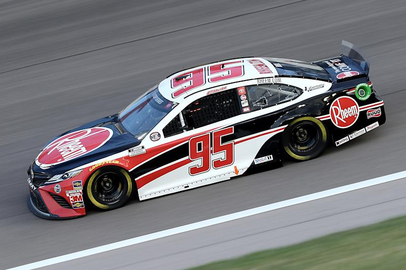 KANSAS CITY, KANSAS - JULY 23: Christopher Bell, driver of the #95 Rheem Toyota, drives during the NASCAR Cup Series Super Start Batteries 400 Presented by O'Reilly Auto Parts at Kansas Speedway on July 23, 2020 in Kansas City, Kansas. (Photo by Jamie Squire/Getty Images)