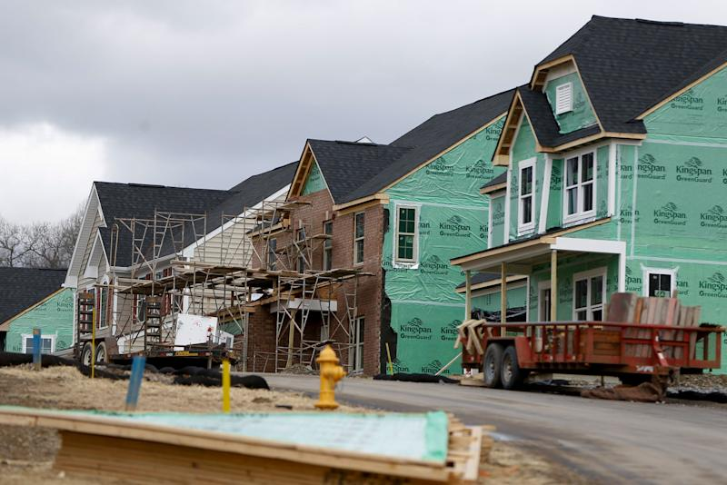 In this Wednesday, March 1, 2017, photo, new home construction is underway in a housing plan in Zelienople, Pa. It's lining up to be another strong year for investors who own homebuilding stocks as a proxy bet on the health of the U.S. housing market. Housing market trends are expected to remain favorable for builders, but those focusing on first-time buyers could be the safest bet for further gains. (AP Photo/Keith Srakocic)