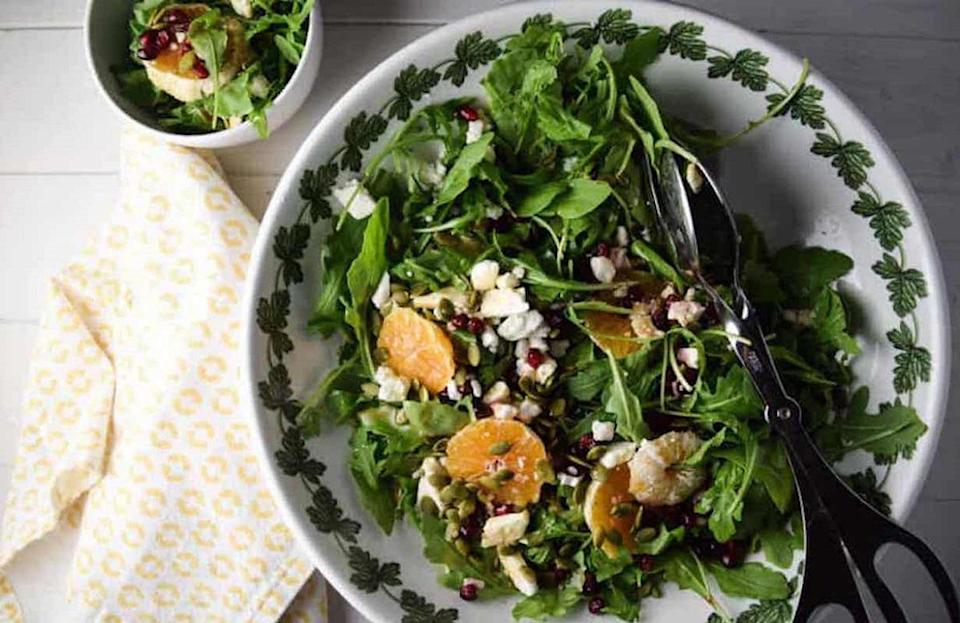 """<p>For this colorful salad, you'll need arugula, orange and pomegranate. If it's a last-minute dish and your arugula looks a little frail, put it in an ice bath to <a href=""""https://www.thedailymeal.com/cook/ways-make-your-food-last-longer-gallery?referrer=yahoo&category=beauty_food&include_utm=1&utm_medium=referral&utm_source=yahoo&utm_campaign=feed"""" rel=""""nofollow noopener"""" target=""""_blank"""" data-ylk=""""slk:make it last longer"""" class=""""link rapid-noclick-resp"""">make it last longer</a>.</p> <p><a href=""""https://www.thedailymeal.com/recipes/arugula-orange-and-pomegranate-salad-recipe?referrer=yahoo&category=beauty_food&include_utm=1&utm_medium=referral&utm_source=yahoo&utm_campaign=feed"""" rel=""""nofollow noopener"""" target=""""_blank"""" data-ylk=""""slk:For the Arugula, Orange and Pomegranate Salad recipe, click here."""" class=""""link rapid-noclick-resp"""">For the Arugula, Orange and Pomegranate Salad recipe, click here.</a></p>"""
