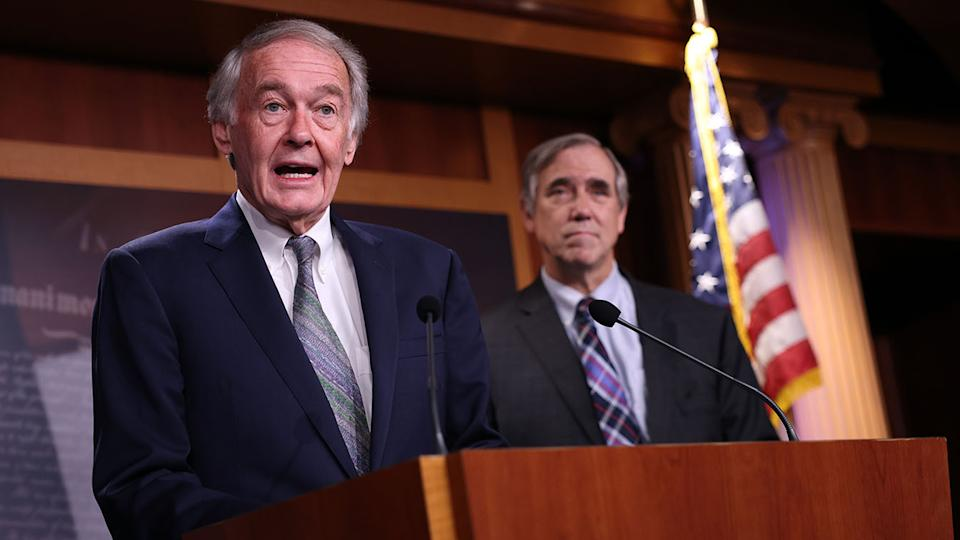 U.S. Sen. Ed Markey (D-MA) (L) and U.S. Sen. Jeff Merkley (D-OR) speak on infrastructure and climate protection at the U.S. Capitol on June 15, 2021 in Washington, DC. The two Senators spoke on the need to include green jobs and climate protection in the ongoing infrastructure negotiations.  (Photo by Kevin Dietsch/Getty Images)